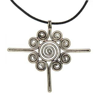 Handmade Large Miao Silver Sun Flower Necklace (China)
