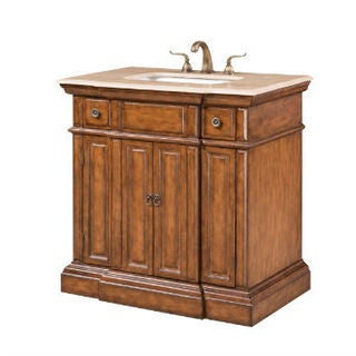 Single Sink Vanity with Travertine Top