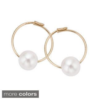 Pearlyta 14k Gold Kids Freshwater Pearl Endless Hoop Earrings (4 mm)|https://ak1.ostkcdn.com/images/products/10092147/P17233950.jpg?impolicy=medium