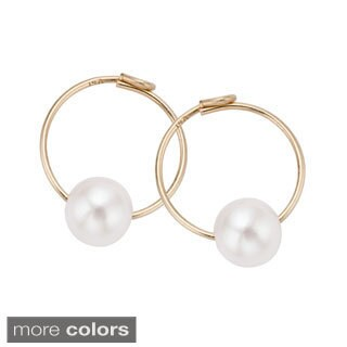 Pearlyta 14k Gold Kids Freshwater Pearl Endless Hoop Earrings (4 mm) (3 options available)