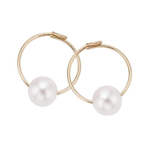 Pearlyta 14k Gold Kids Freshwater Pearl Endless Hoop Earrings (4 mm)
