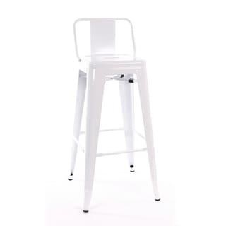 Amalfi Glossy White Steel Low Back 30-inch Barstool (Set of 4)