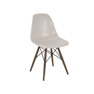 Mid Century Beige Dining Chair with Walnut Wood Base (Set of 5)