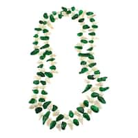 Green and White Freshwater Pearl Knotted Endless Strand Necklace Jewelry for Women