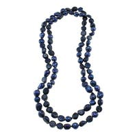 Dark Blue Freshwater Pearl Knotted Endless Necklace (10-11 mm) Jewelry for Womens