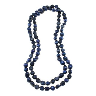Dark Blue Freshwater Pearl Knotted Endless Necklace Jewelry for Women
