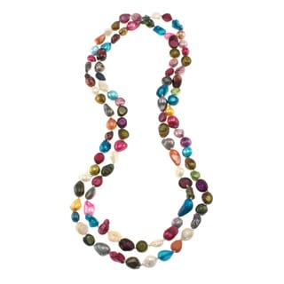 Multi-color Freshwater Pearl Knotted Endless Necklace (9-10 mm)
