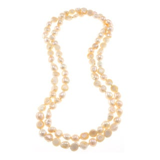 Orange Freshwater Pearl Knotted Endless Strand Necklace Jewelry for Women