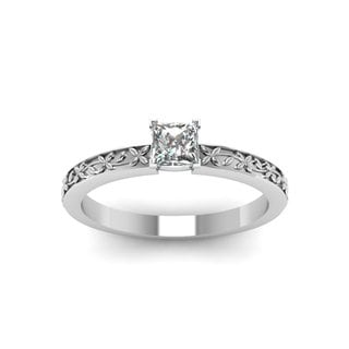 14k White Gold 1/2ct TDW Princess-cut Diamond Solitaire and Floral Engraved Engagement Ring  K, SI