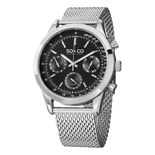 SO&CO New York Men's Quartz Monticello Stainless Steel Tachymeter Mesh Band Watch
