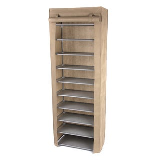 Beige 10-tier Shoe Rack