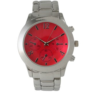 Olivia Pratt Women's Colored Dial Boyfriend Bracelet Watch (Option: Red)