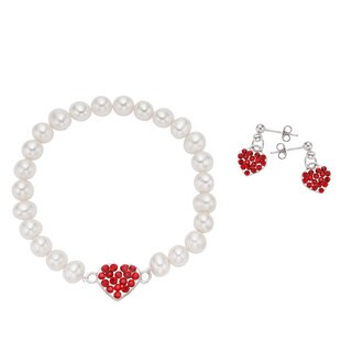 Pearlyta Sterlling Silver Children's Freshwater Pearl Red Heart Charm Bracelet and Earring Set (4-5mm)