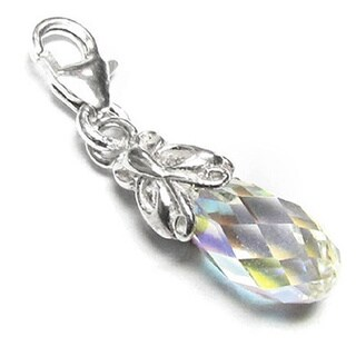 Queenberry Sterling Silver Austrian Crystal Elements Butterfly Pendant European Bead Charm