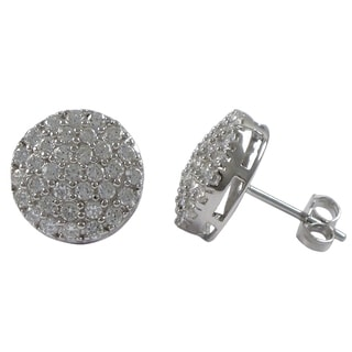 Luxiro Sterling Silver Cubic Zirconia Round Pave Stud Earrings