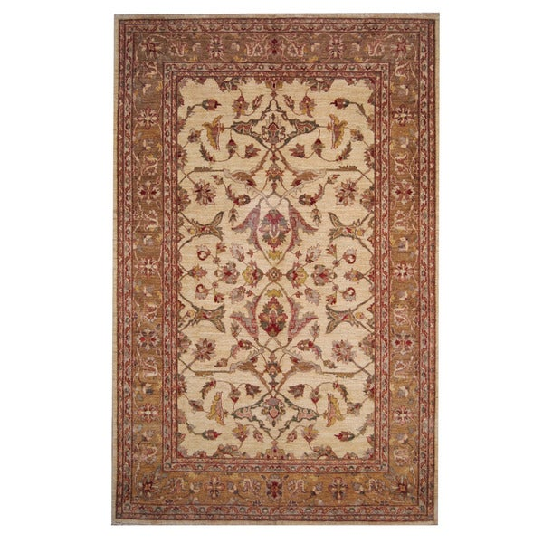 Herat Oriental Afghan Hand-knotted Oushak Wool Rug - 6'3 x 9'6