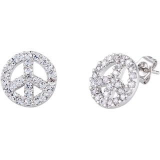 Simon Frank Silvertone CZ 'Peace Symbol' Earrings