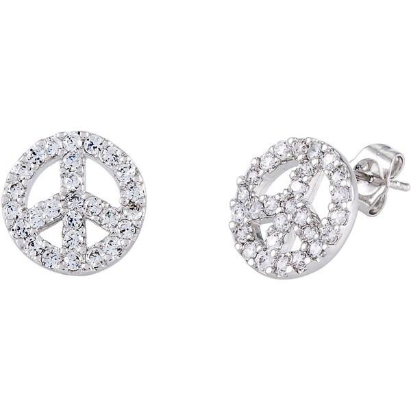 Simon Frank Silvertone CZ 'Peace Symbol' Earrings