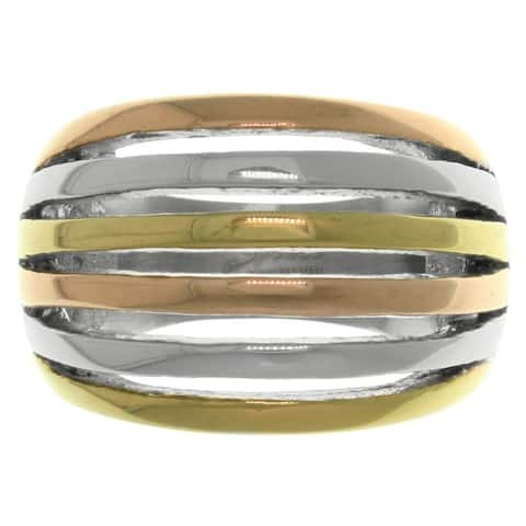 Triple-tone Stainless Steel Cutout Stripe Ring - Multicolor