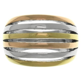 Carolina Glamour Collection Triple-tone Stainless Steel Cutout Stripe Ring