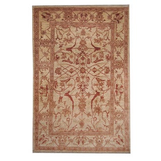 Herat Oriental Afghan Hand-knotted Oushak Ivory/ Red Wool Rug (5'8 x 8'10)