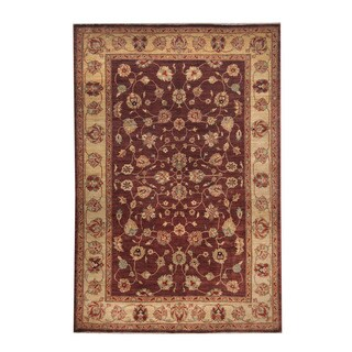 Herat Oriental Afghan Hand-knotted Oushak Burgundy/ Ivory Wool Rug (6' x 8'10)