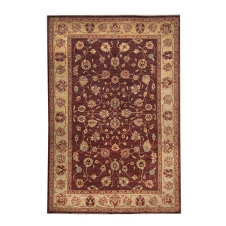 Herat Oriental Afghan Hand-knotted Oushak Wool Rug (6' x 8'10)