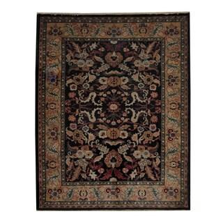 Herat Oriental Afghan Hand-knotted Oushak Black/ Beige Wool Rug (6'7 x 8'3)