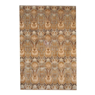 Herat Oriental Indo Hand-knotted Ikat Multicolor Wool Rug (6' x 9')
