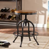 Carbon Loft Horstmann Dark Pine/Black Industrial-style Adjustable Stool