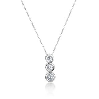 SummerRose 14k White Gold 1/2ct TDW Triple Diamond Bezel Necklace (H-I, SI1-SI2)