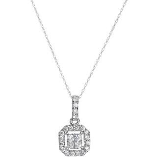 SummerRose 14k White Gold 3/5ct TDW Vintage Diamond Necklace