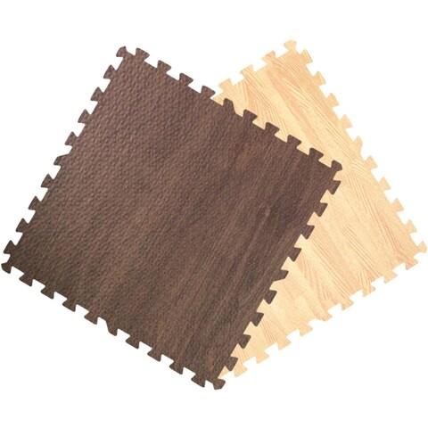 Get Rung Wood Grain Interlocking Foam Puzzle Tile Floor Mats