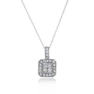SummerRose 14k White Gold 1/2ct TDW Diamond Vintage Square Necklace