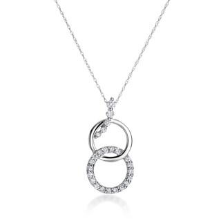 SummerRose 14k White Gold 1/2ct TDW Diamond Double Circle Necklace