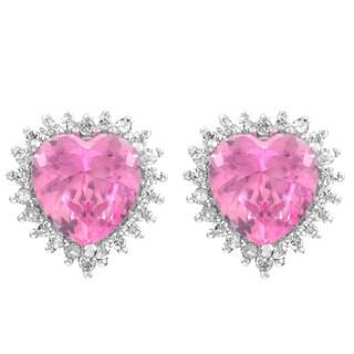 Silvertone Pink Heart-shaped Post Earrings