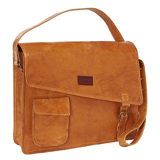 Sharo Woman's Orange/Yellow Cross Flap 15.5-inch Laptop messenger Bag