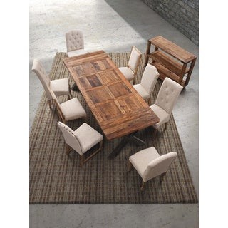 Cole Valley Rustic Distressed Oak Upholstered Dining Chair (Set of 2)
