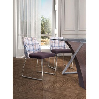 Rave Line Pattern and Brown Dining Chair (Set of 2)