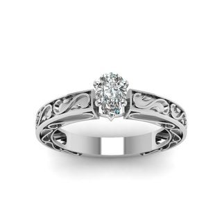 14k White Gold 1/2CTtw Pear Shaped Diamond Solitaire Engagement Ring by Fascinating Diamonds