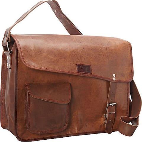 Sharo Brown Cross Flap 15.5-inch Laptop Messenger Bag