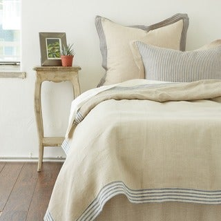 Belle Tan Linen Duvet Cover with Stripe Flange (2 options available)