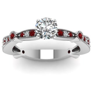 14k White Gold 1/2ct TDW Round-cut Diamond and Ruby Engagement Ring (F-G, I1-I2)