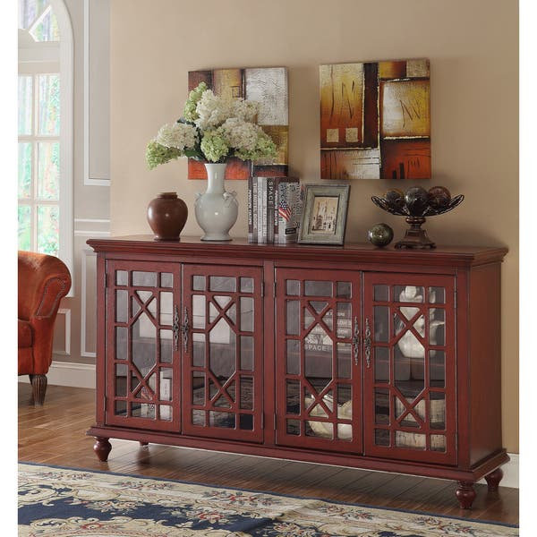 Christopher Knight Home Texture Red Four-door Media Credenza on consoles and credenzas, made in usa modern credenzas, modern sideboards with sliding door, country style credenzas, industrial modern credenzas, post modern credenzas, modern sideboards and hutches,