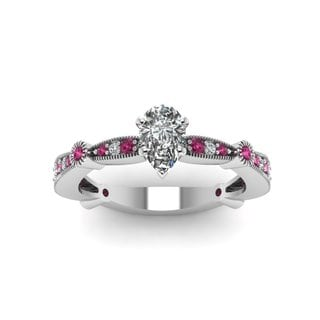 14k White Gold 1/2ct TDW Pear-cut Diamond and Pink Sapphire Engagement Ring