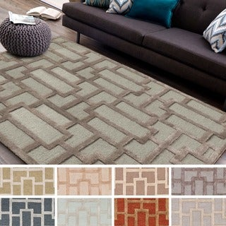 Hand-tufted Thaxted Geometric Wool Rug (9' x 13') - 9' x 13' (Option: Camel)