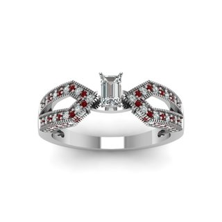 14k White Gold 3/4ct TDW Emerald-cut Diamond and Ruby Infinity Engagement Ring (E-F, VS1-VS2)