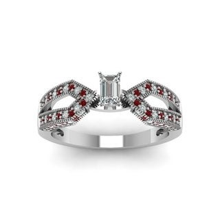 14k White Gold 3/4ct TDW Emerald-cut Diamond and Ruby Infinity Engagement Ring