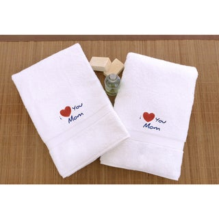 """Link to Authentic Hotel & Spa """"I Love you Mom"""" Monogrammed Turkish Cotton Hand Towels - Set of 2 Similar Items in Towels"""