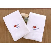 "Authentic Hotel & Spa ""I Love you Mom"" Monogrammed Turkish Cotton Hand Towels - Set of 2"